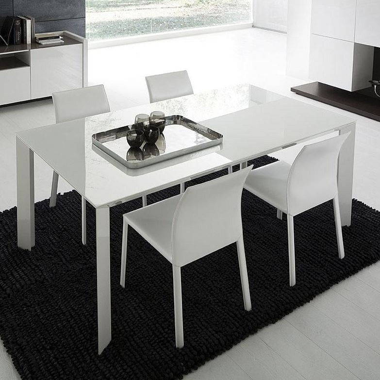 Slide White Rectangular Dining Table With Glass Top | Dining Tables Regarding Rectangular Dining Tables Sets (Image 25 of 25)