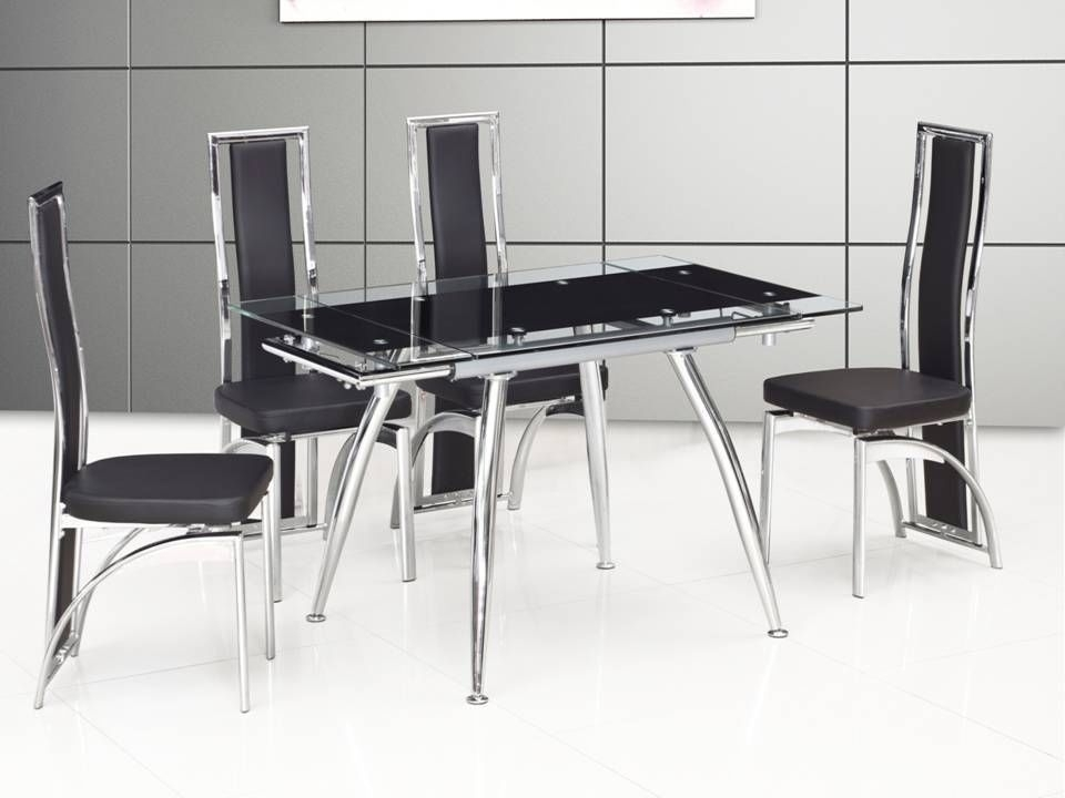 Small Black Extending Glass Dining Table And 4 Chairs  Homegenies Within Extending Black Dining Tables (Image 25 of 25)