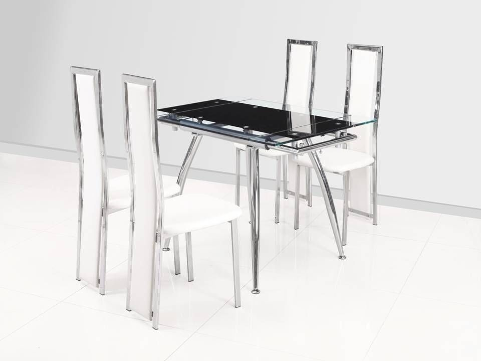 Small Black Extending Glass Dining Table And 4 White Chairs For Small Extending Dining Tables And 4 Chairs (View 18 of 25)