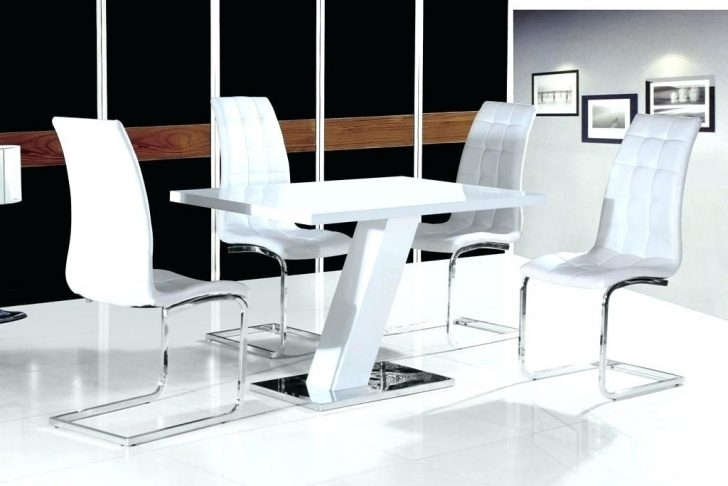 Small Dining Table For 4 Compact White High Gloss Contemporary Pertaining To White High Gloss Dining Tables And 4 Chairs (View 7 of 25)
