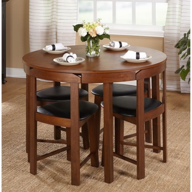 Small Dining Table Set Compact Round Wood 4 Chairs Kitchen Modern With Small Dining Sets (Image 17 of 25)