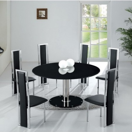 Small Dining Table | Wooden Dining Room Chairs Pertaining To Round Black Glass Dining Tables And Chairs (View 8 of 25)