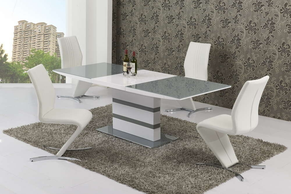 Small Extending 4 Seater Gloss Grey Glass Dining Table & Chairs Intended For Glass Dining Tables White Chairs (Image 23 of 25)