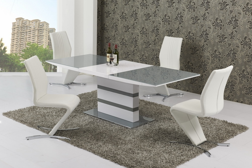 Small Extending 6 Seater Gloss Grey Glass Dining Table & Chairs With Black Gloss Extending Dining Tables (Image 18 of 25)