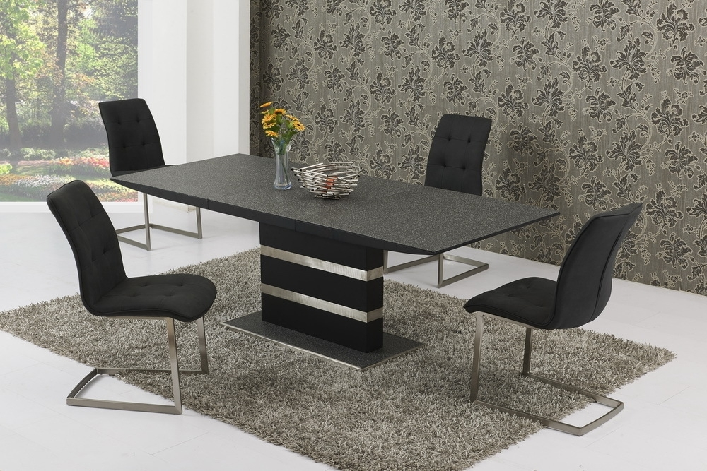 Small Extending Black Stone Effect Glass Dining Table & 6 Chairs With Regard To Black Glass Extending Dining Tables 6 Chairs (Image 20 of 25)