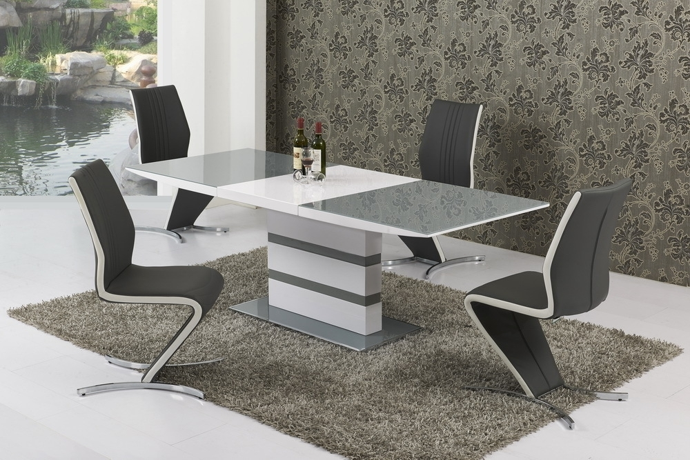 Small Extending Grey Glass High Gloss Dining Table And 4 Chairs Set Intended For Small White Extending Dining Tables (Image 18 of 25)