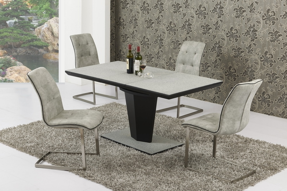 Small Extending Grey Stone Effect Glass Dining Table And 4 Chairs Pertaining To Extendable Dining Table And 4 Chairs (View 19 of 25)