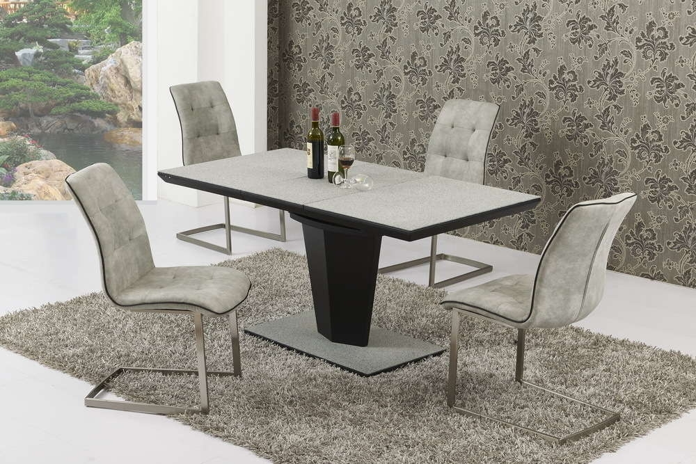 Small Extending Grey Stone Effect Glass Dining Table And 6 Chairs Regarding Extendable Glass Dining Tables And 6 Chairs (View 9 of 25)