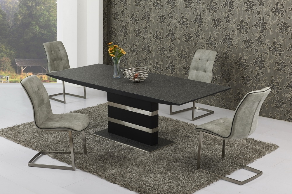 Small Extending Stone Set Glass Dining Table And 4 Chairs Pertaining To Small Extending Dining Tables And 4 Chairs (View 7 of 25)