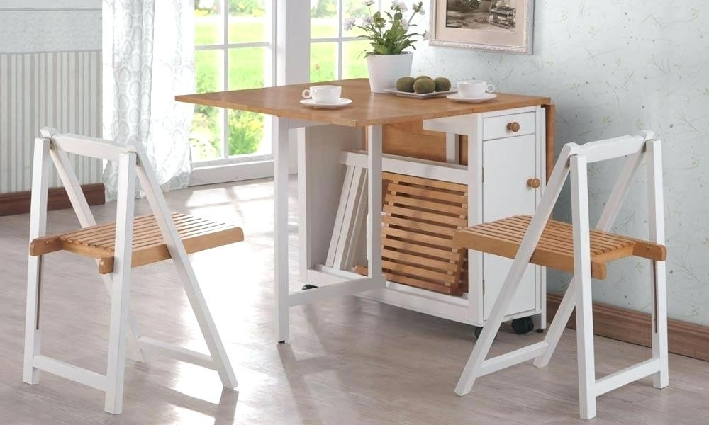 Small Folding Dining Table Folding Dining Table For Small Space Throughout Compact Dining Room Sets (View 24 of 25)