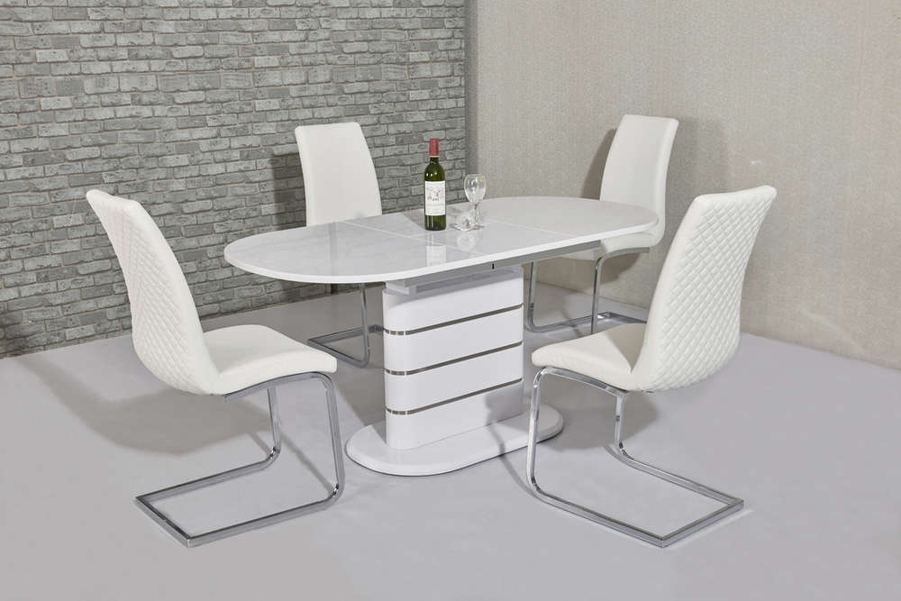 Small Oval White Gloss Dining Table & 4 White Chairs – Homegenies For White High Gloss Oval Dining Tables (Image 17 of 25)