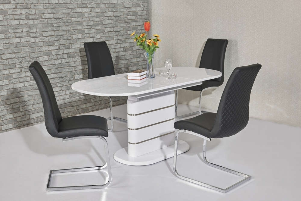Small Oval White High Gloss Dining Table & 6 Chairs – Homegenies With Oval White High Gloss Dining Tables (View 7 of 25)