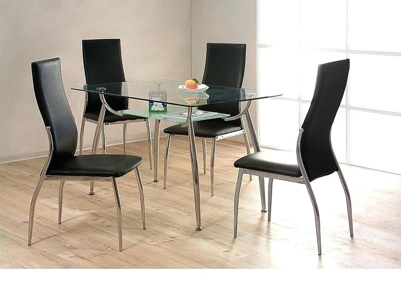 Small Round Glass Dining Table And 4 Chairs – Modern Computer Desk Pertaining To Black Glass Dining Tables And 4 Chairs (Image 24 of 25)