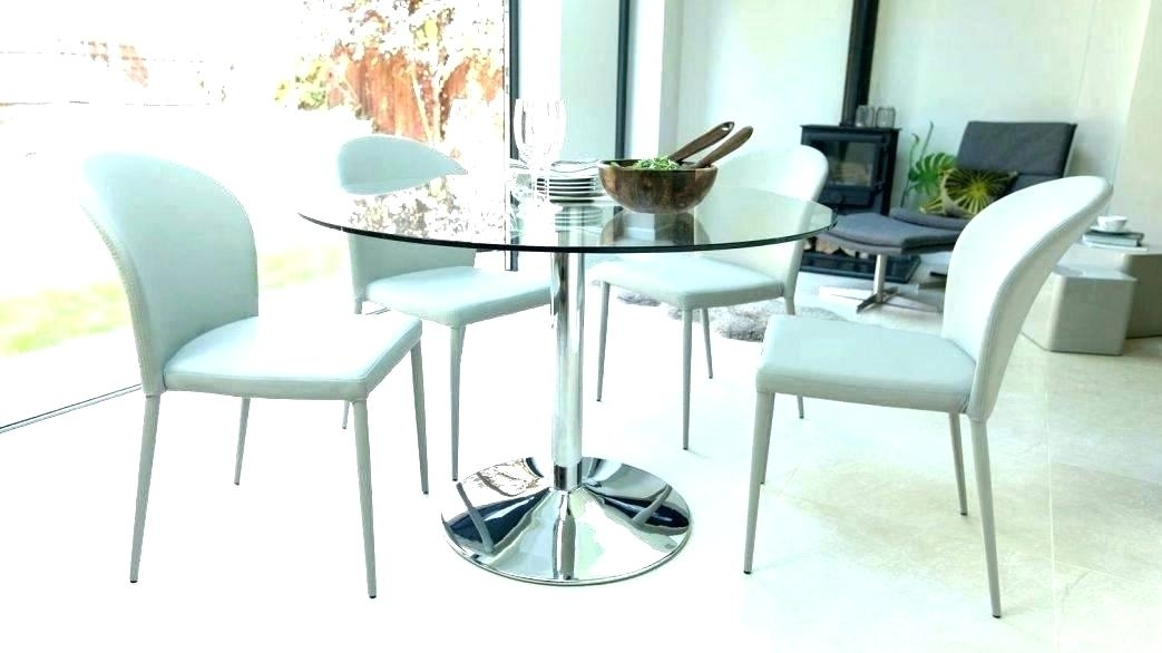 Small Round Glass Dining Table Sets Retro Glass Top Dining Table Set With Regard To Retro Glass Dining Tables And Chairs (Image 23 of 25)