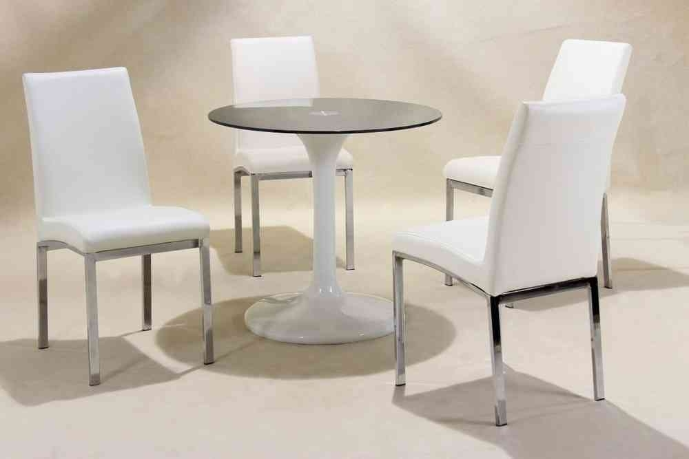 Small Round White High Gloss Glass Dining Table And 4 Chairs With Regard To Round High Gloss Dining Tables (View 21 of 25)
