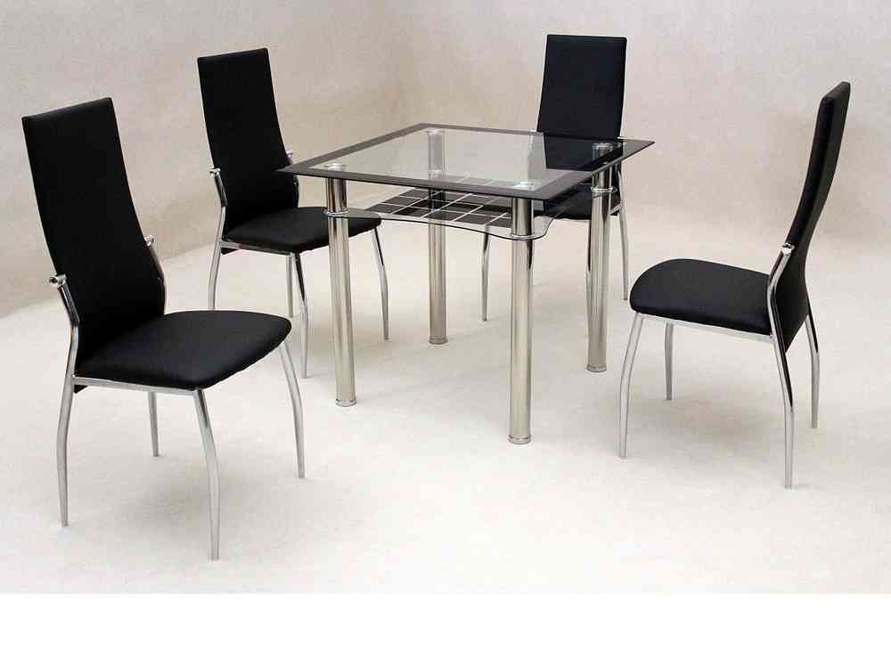 Small Square Clear & Black Glass Dining Table And 4 Chairs With Square Black Glass Dining Tables (View 14 of 25)