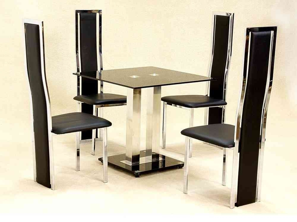 Small Square Glass Dining Table And 4 Faux Chairs In Black with Square Black Glass Dining Tables