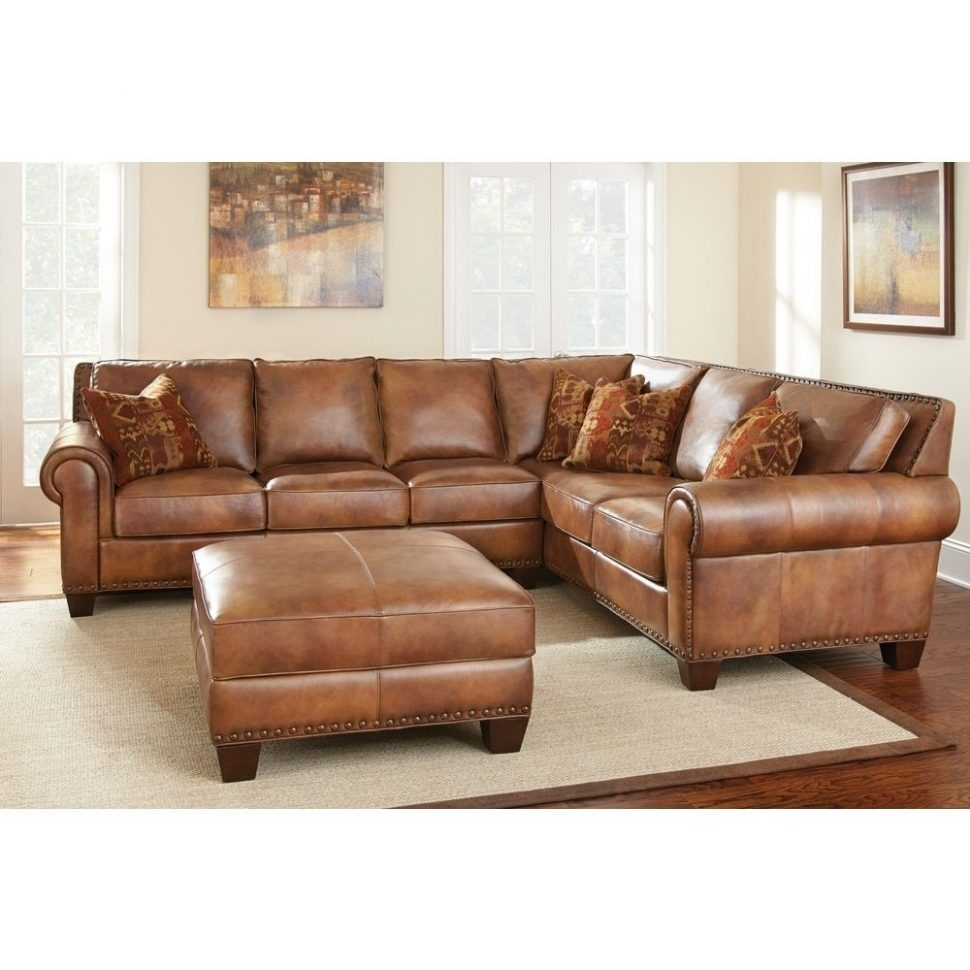 Small Three Pieces Maroon Leather Sectional Sofa With Recliner And For Tenny Cognac 2 Piece Right Facing Chaise Sectionals With 2 Headrest (View 25 of 25)