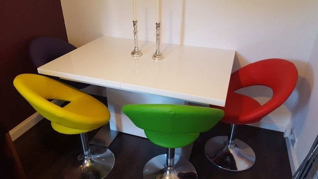 Smartie White Gloss Extending Dining Table & 4 Multi Coloured Swivel Regarding Smartie Dining Tables And Chairs (View 2 of 25)