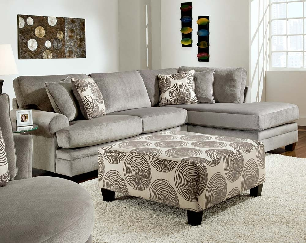 Smoke Gray 2 Piece Microfiber Sectional Sofa | American Freight In Norfolk Chocolate 6 Piece Sectionals With Raf Chaise (Image 22 of 25)