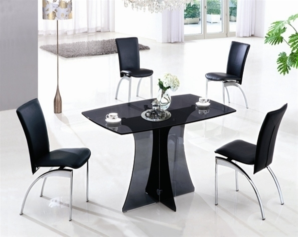 Smoked Glass Dining Table And 4 Black Chairs – Homegenies With Regard To Smoked Glass Dining Tables And Chairs (Image 20 of 25)