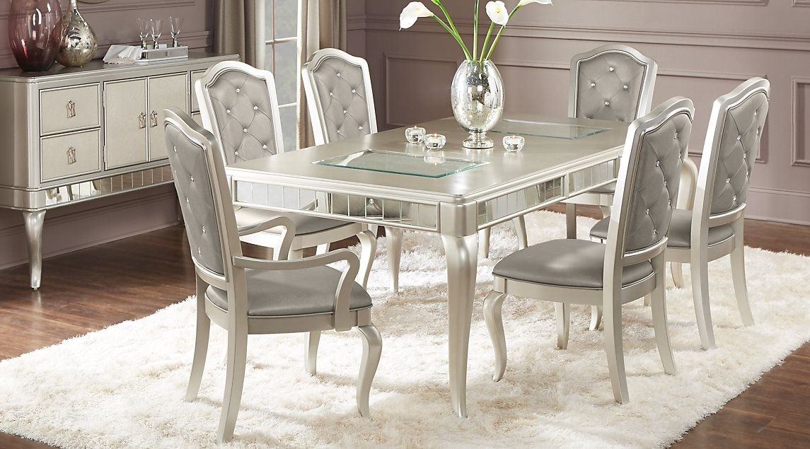 Sofia Vergara Paris Champagne 5 Pc Dining Room | Dash In 2018 Throughout Caira Black 5 Piece Round Dining Sets With Upholstered Side Chairs (Image 23 of 25)