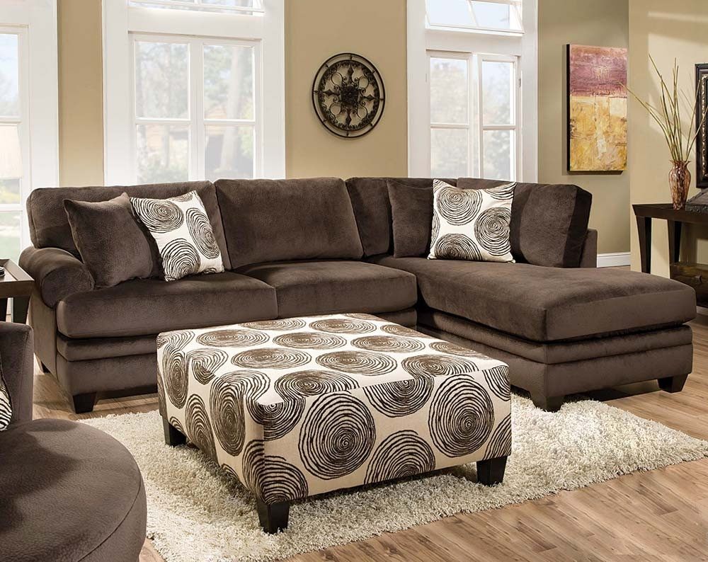 Soft Brown Microfiber Two Piece Sectional Sofa | American Freight Inside Norfolk Chocolate 3 Piece Sectionals With Raf Chaise (Image 33 of 33)