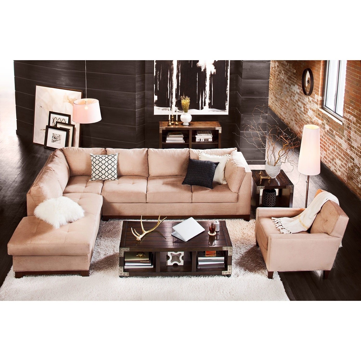 Soho 2 Piece Sectional With Left Facing Chaise – Cobblestone | Value Inside Arrowmask 2 Piece Sectionals With Sleeper & Right Facing Chaise (Image 22 of 25)