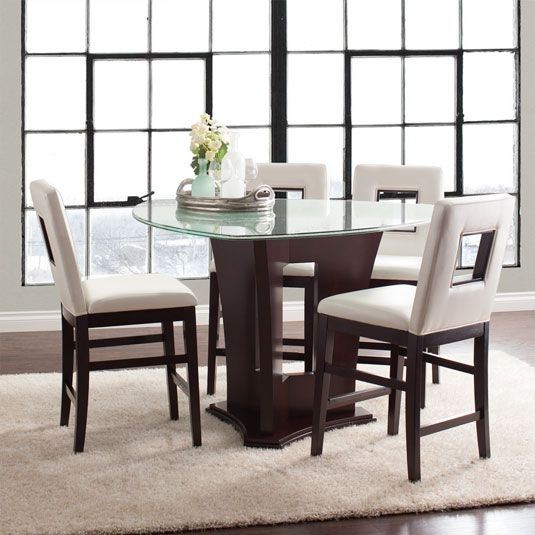 Soho 5Pc Counter Set:counter Height Table & 4 Stools In Espresso Throughout Candice Ii 5 Piece Round Dining Sets (Image 23 of 25)