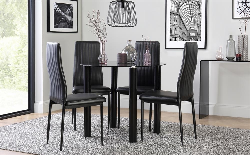 Solar Round Black Glass Dining Table With 4 Leon Black Chairs Only In Round Black Glass Dining Tables And Chairs (View 12 of 25)