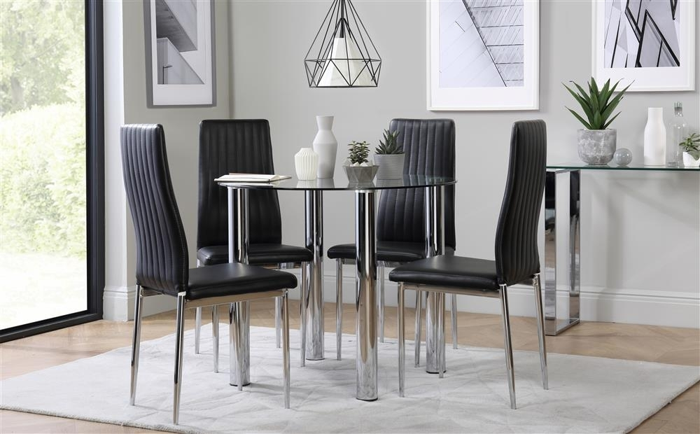 Solar Round Chrome And Glass Dining Table With 4 Leon Black Chairs With Regard To Leon Dining Tables (View 25 of 25)
