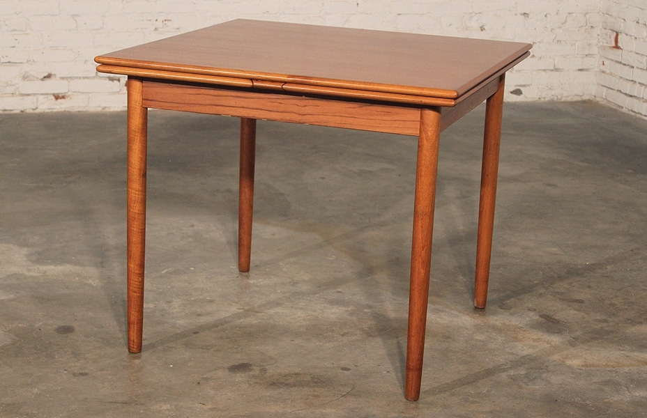 Sold – Danish Modern Teak Square Expanding Dining Table – For Danish Dining Tables (Image 24 of 25)