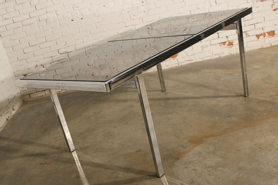 Sold – Vintage Milo Baughman Expandable Dining Table Chrome And Inside Smoked Glass Dining Tables And Chairs (View 23 of 25)