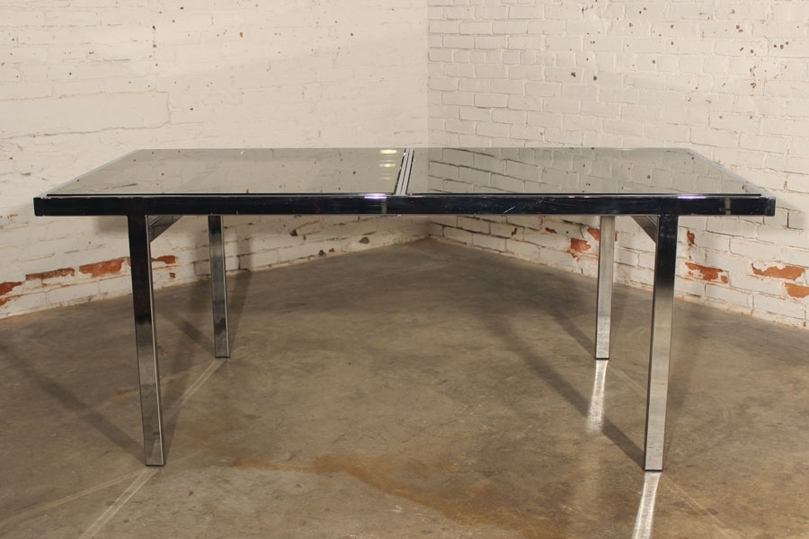 Sold – Vintage Milo Baughman Expandable Dining Table Chrome And With Chrome Glass Dining Tables (View 22 of 25)