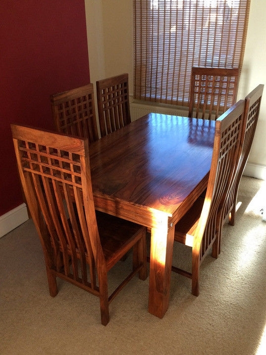 Solid Dark Wood Dining Table And 6 Chairs | In Exeter, Devon | Gumtree With Dark Wood Dining Tables 6 Chairs (View 24 of 25)