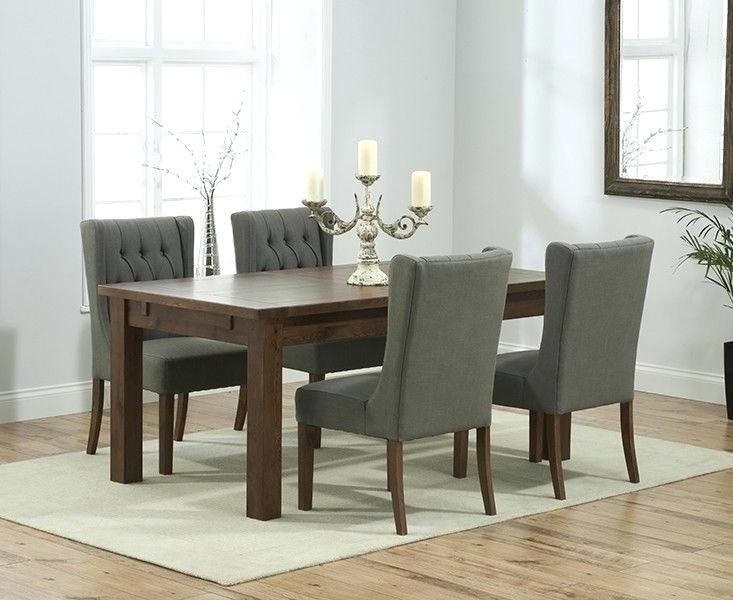 Solid Dark Wood Extending Dining Table Brown Walnut Set Chairs In Solid Dark Wood Dining Tables (View 10 of 25)