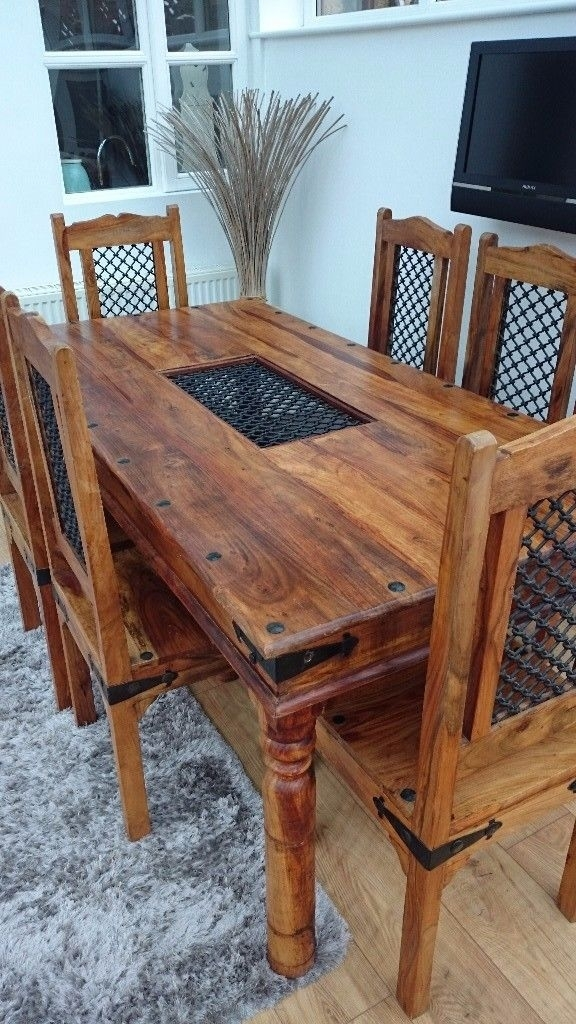 Solid Indian Oak Dining Table & 6 Chairs | In Barnsley, South Within Indian Dining Tables And Chairs (View 4 of 25)