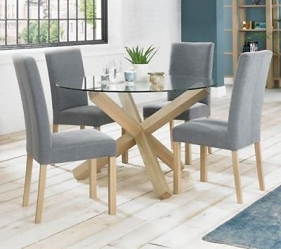 Solid Oak And Glass Round Dining Table – Contemporary Criss Cross Pertaining To Round Glass And Oak Dining Tables (View 9 of 25)