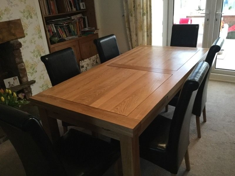 Solid Oak Dining Table And Six Leather Chairs | In Hull, East Intended For Oak Dining Tables And Leather Chairs (View 10 of 25)