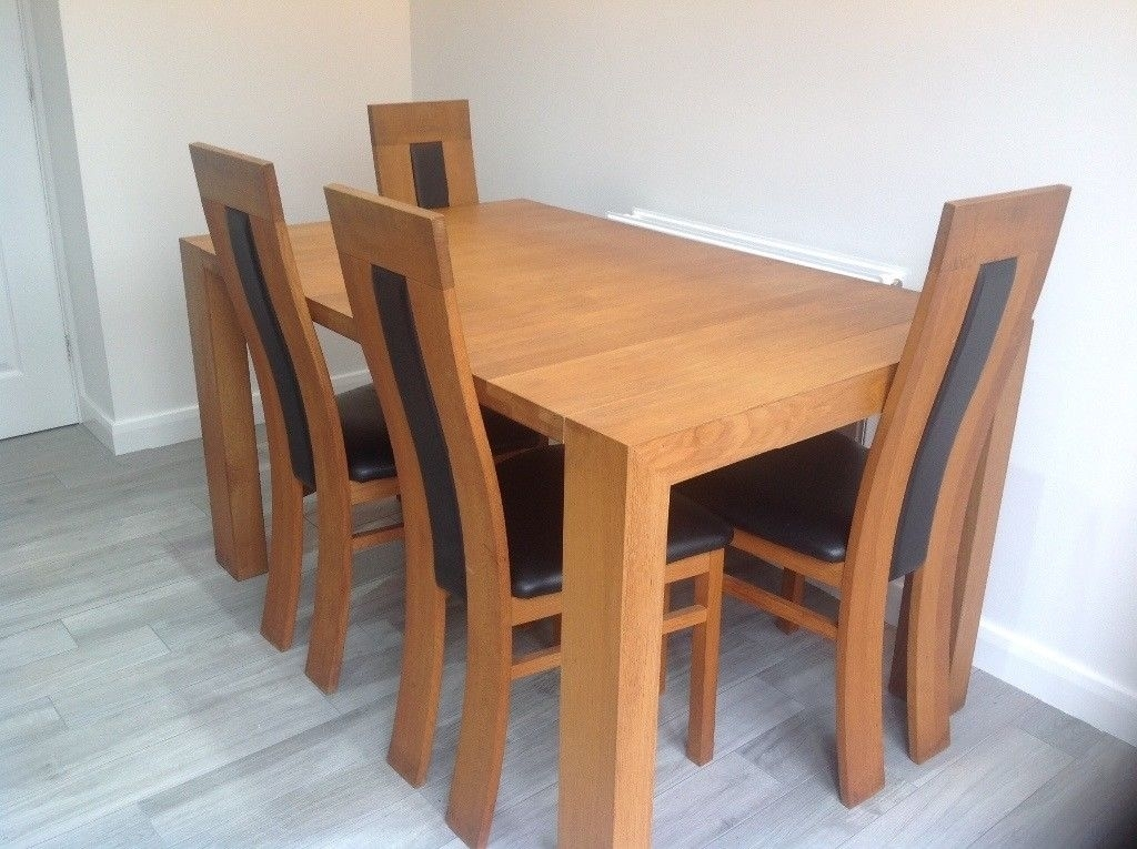 Solid Oak Extendable Dining Table And 4 Chairs For Sale | In Pertaining To Extendable Dining Tables And 4 Chairs (Image 20 of 25)