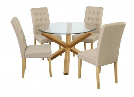 Solid Oak Glass Dining Table Set & 4 Padded Luxury Contemporary Throughout Oak Glass Dining Tables (View 14 of 25)