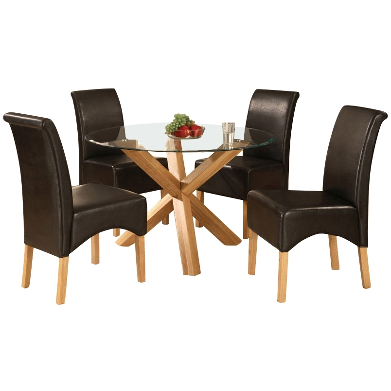 Solid Oak Glass Round Dining Table And 4 Leather Chair, Round Table Within Oak And Glass Dining Tables Sets (View 19 of 25)