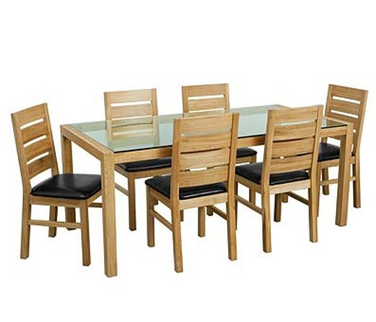 Solid Oak Glass Top Dining Table Set With Six Chairs 9179 Pertaining To Oak And Glass Dining Tables Sets (View 5 of 25)