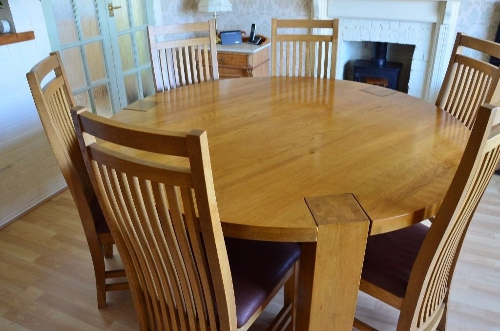 Solid Oak Large Round Dining Table And 6 Chairs | In Flamborough Inside Solid Oak Dining Tables And 6 Chairs (View 8 of 25)