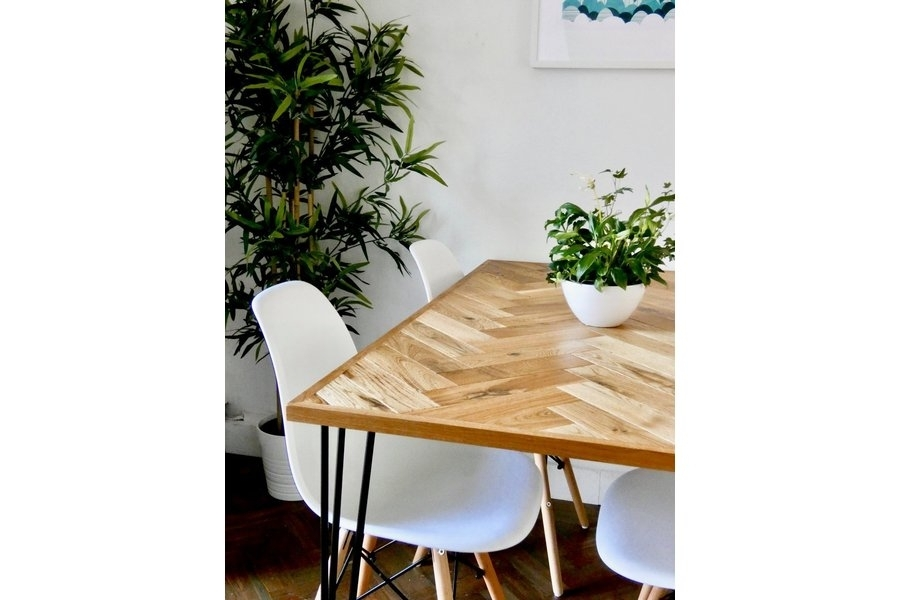 Solid Oak Parquet Dining Table (4 Seater) Herringbone Mid Century With Regard To Parquet 6 Piece Dining Sets (Image 24 of 25)