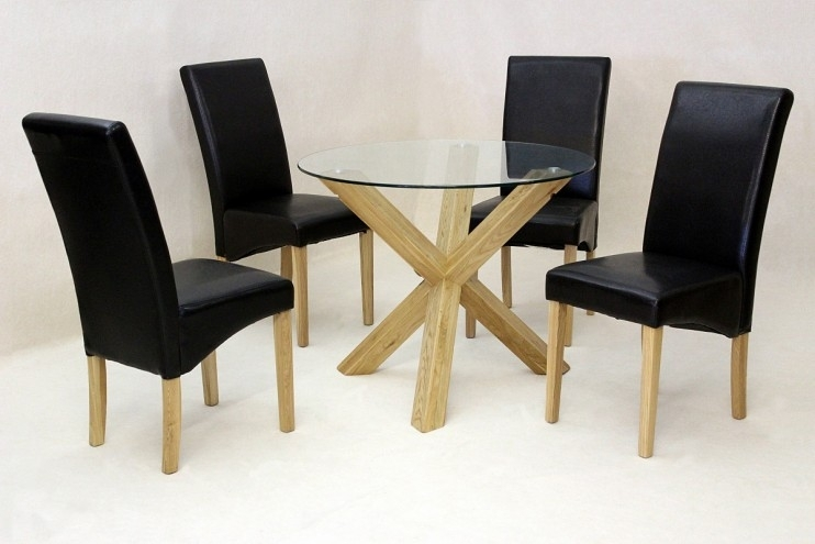 Solid Oak Round Glass Dining Table Only | Glass Vault Furniture Intended For Round Glass Dining Tables With Oak Legs (Image 22 of 25)