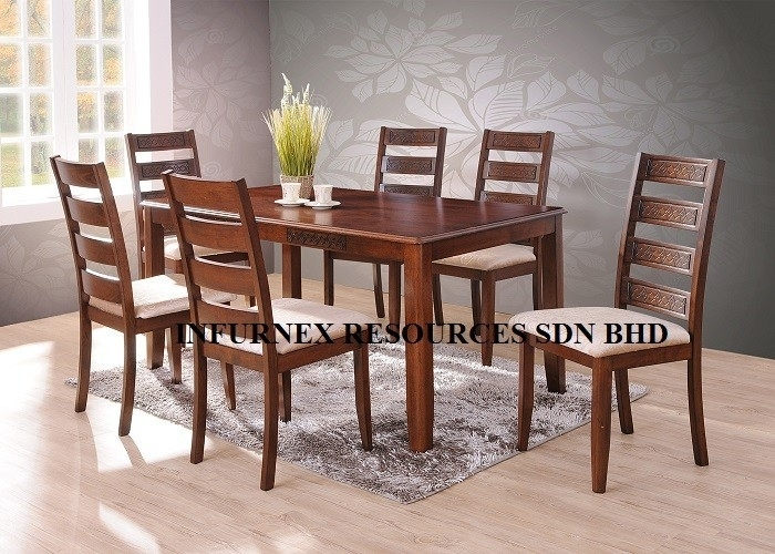 Solid Rubberwood,dining Set (1+6),dining Table,dining Chair – Buy With Wood Dining Tables And 6 Chairs (Image 22 of 25)