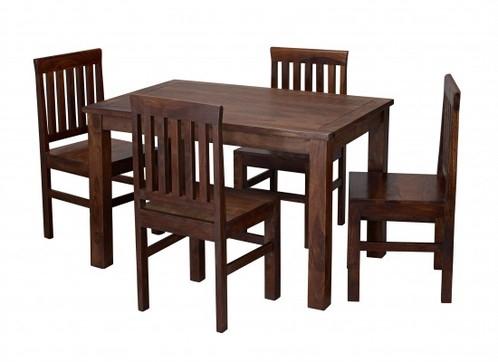 Solid Sheesham Wood Dining Table & 4 Chairs Modern Twist On With Regard To Sheesham Dining Tables And 4 Chairs (Image 23 of 25)