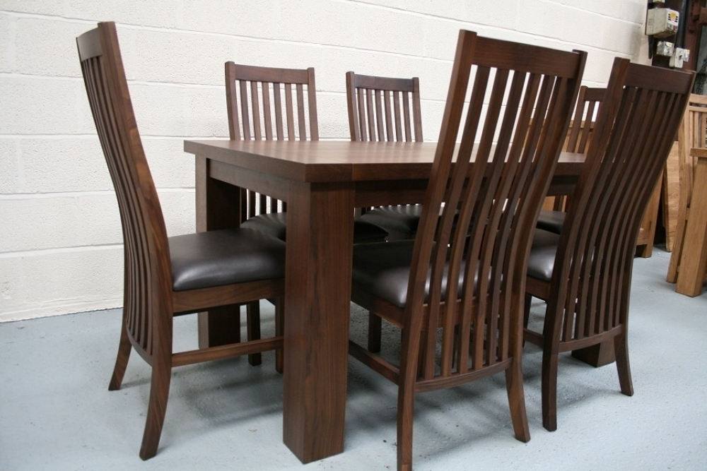 Solid Walnut Dining Table Chairs Wooden Dining Room Chairs Throughout Walnut Dining Tables And Chairs (Image 14 of 25)