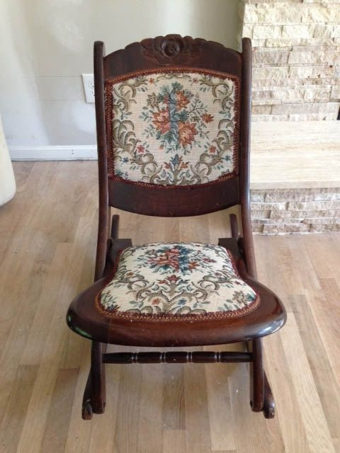 Solid Wood Antique Folding Rocking Chair | For The Home | Pinterest With Regard To Palazzo 7 Piece Dining Sets With Mindy Slipcovered Side Chairs (View 22 of 25)